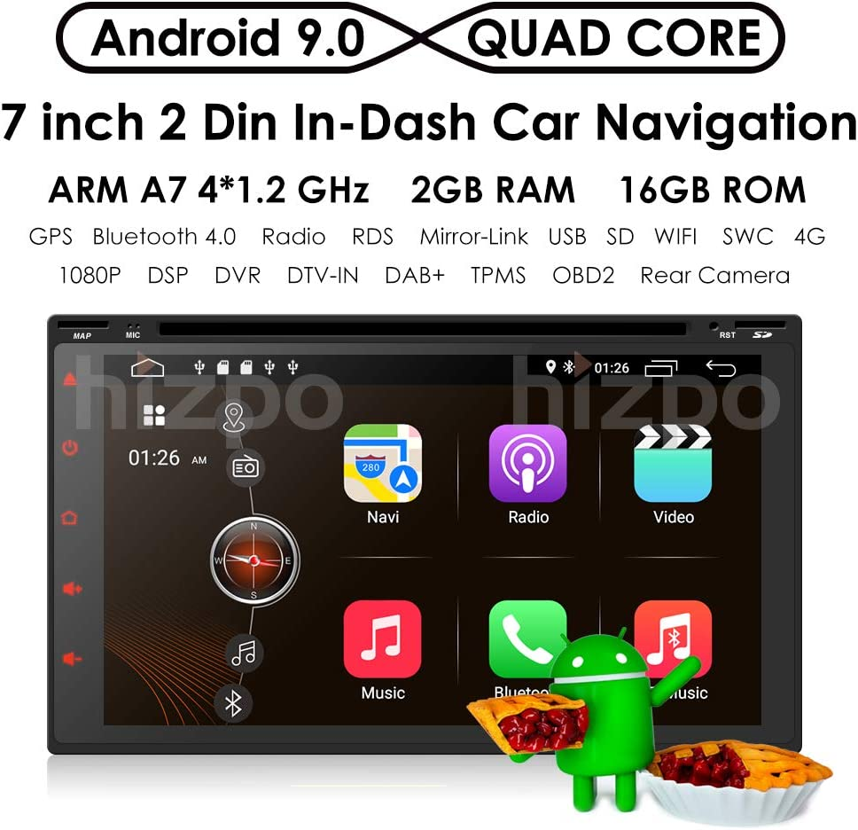 Android 8.1 Double DIN DVD Player Head Unit Universal 2Din Car ...