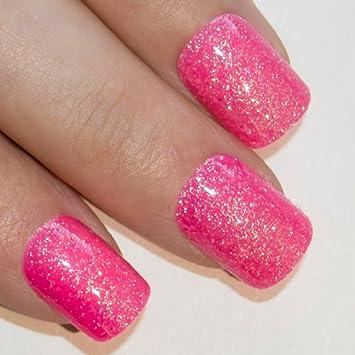uas postizas de gel con purpurina rosa fucsia manicura francesa puntas medianas de bling art
