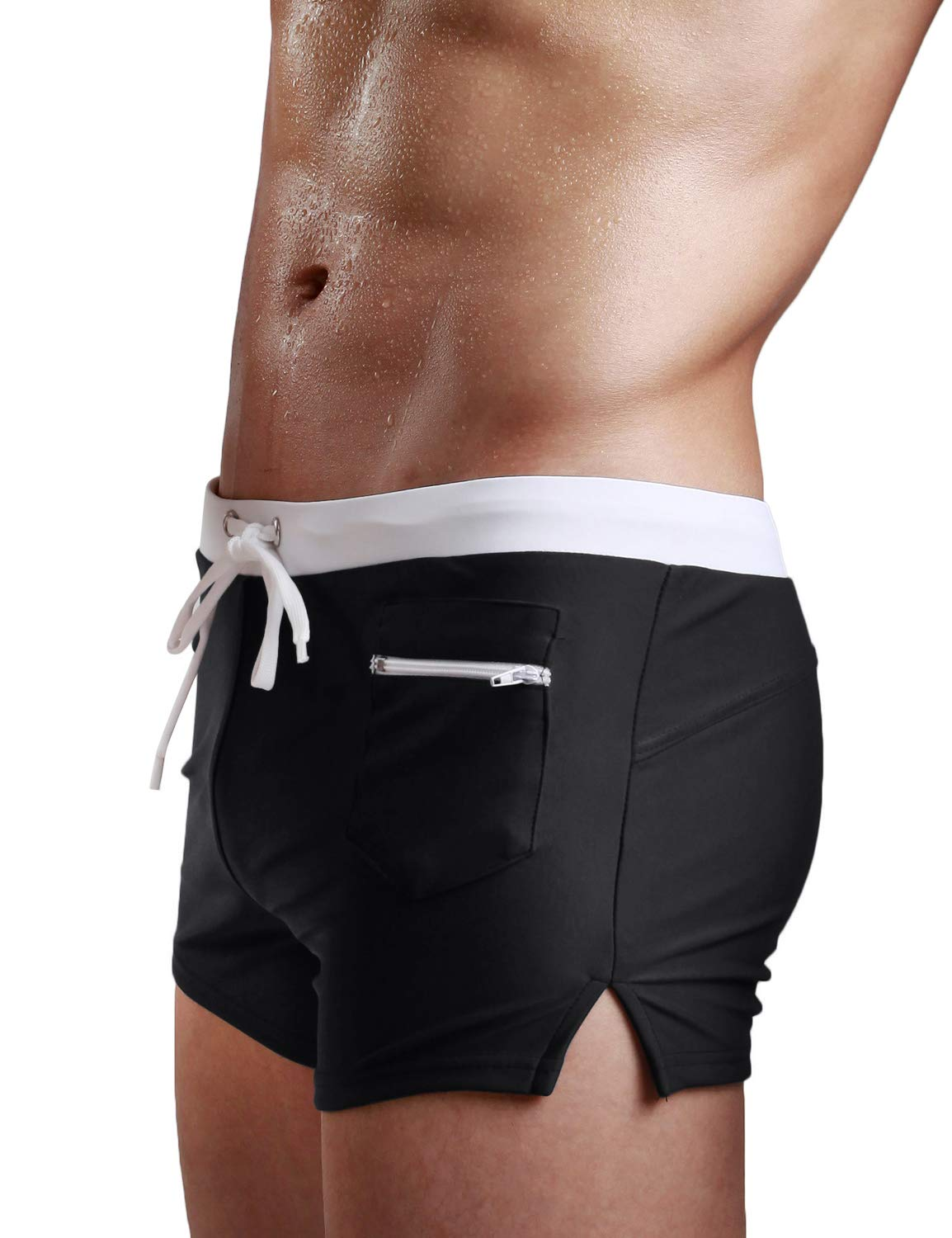 TACVASEN Mens Swimming Trunks Quick Dry Swim Boxer Briefs with Zip Pocket