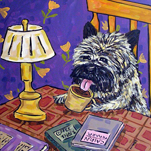 Cairn Terrier at the Cafe Coffee Shop dog art tile coaster - Shops Cairns