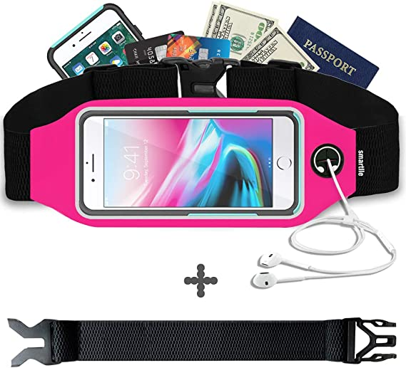 REALIKE Waist Slim Fitness Bag Running Belt Workout Sport Waist Bag with Adjustable Strap Bounce Free Pouch Pack in Waterproof for iPhone Xs Max Xr Xs X 7 8 and Samsung phone series suitable for men and women