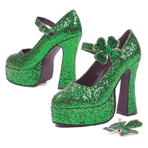 Green Mary Janes High Heel Platform Pumps Adult Womens St Patricks Day Shoes