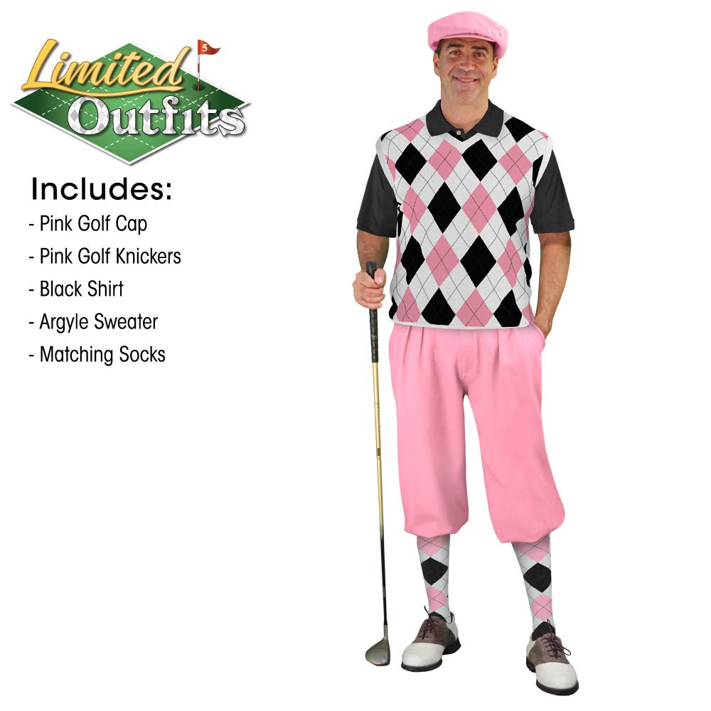 eb849c70b0e7c4 Amazon.com : Golf Knickers Sweater Golf Outfits - Mens - Pink Black White :  Clothing