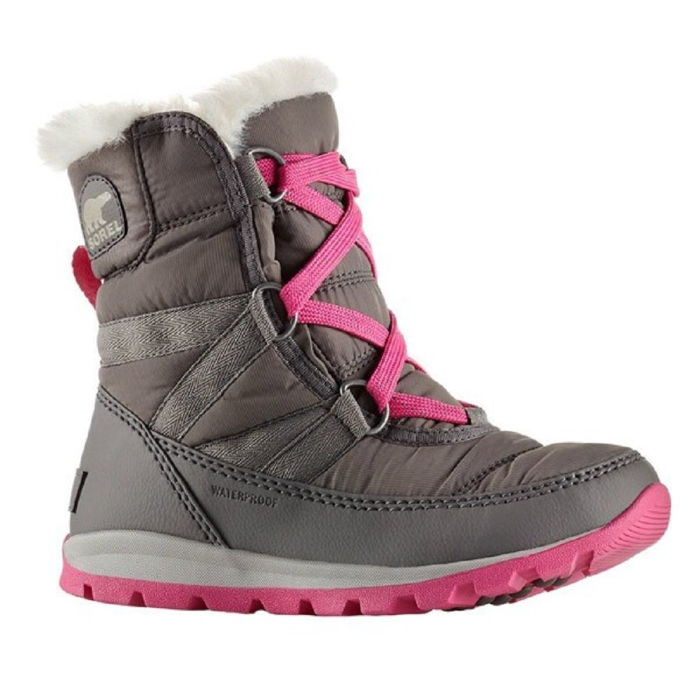 SOREL Youth Whitney Short Lace Boot Quarry/Pink Ice (4.5 Big Kid)