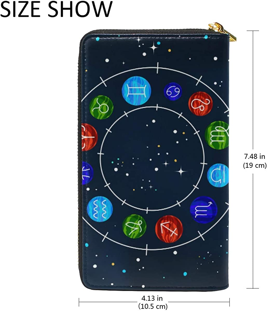 Space Zodiac Wheel Ball Wallet Real Leather Purse Credit Card Holder for Women Phone Girl