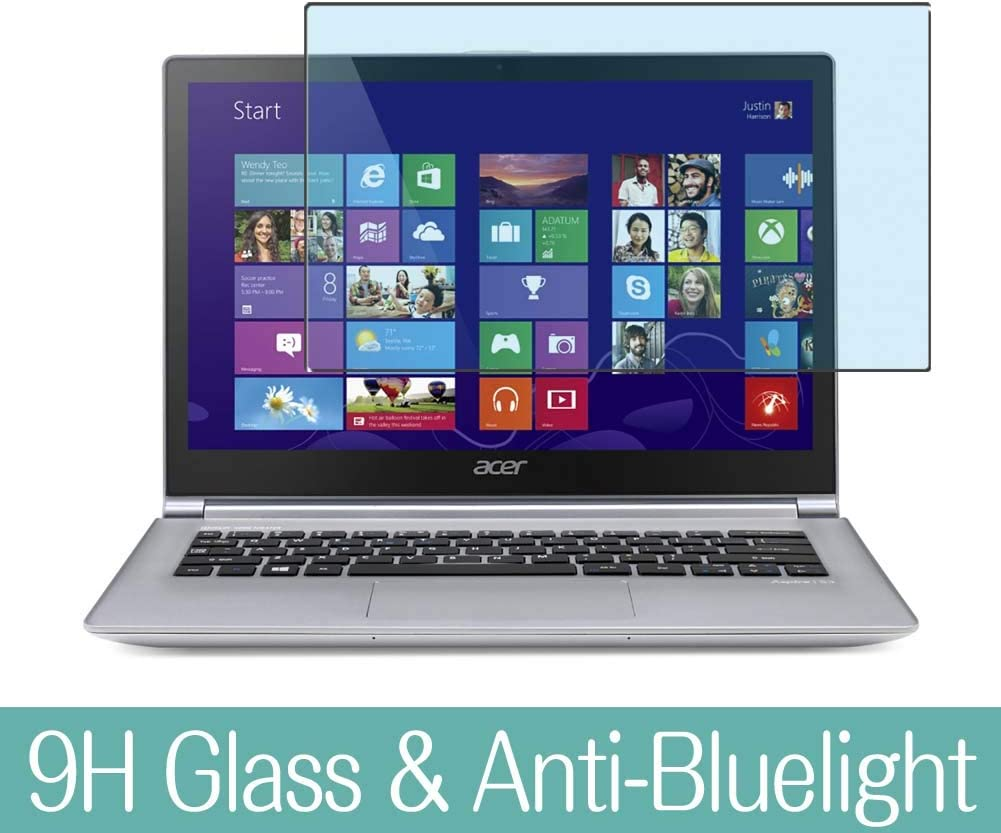 """Synvy Anti Blue Light Tempered Glass Screen Protector for ACER Aspire S3-392 / S3-392G 13.3"""" Visible Area 9H Protective Screen Film Protectors (Not Full Coverage)"""