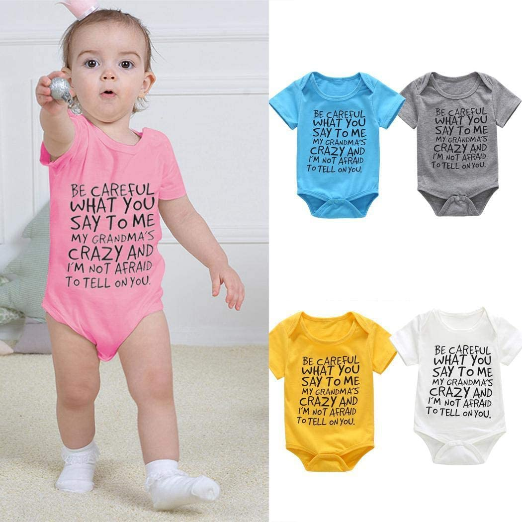 wekold Cute Unisex Infant O Neck Letter Print Rompers Baby Jumpsuit Summer Clothing Bodysuits