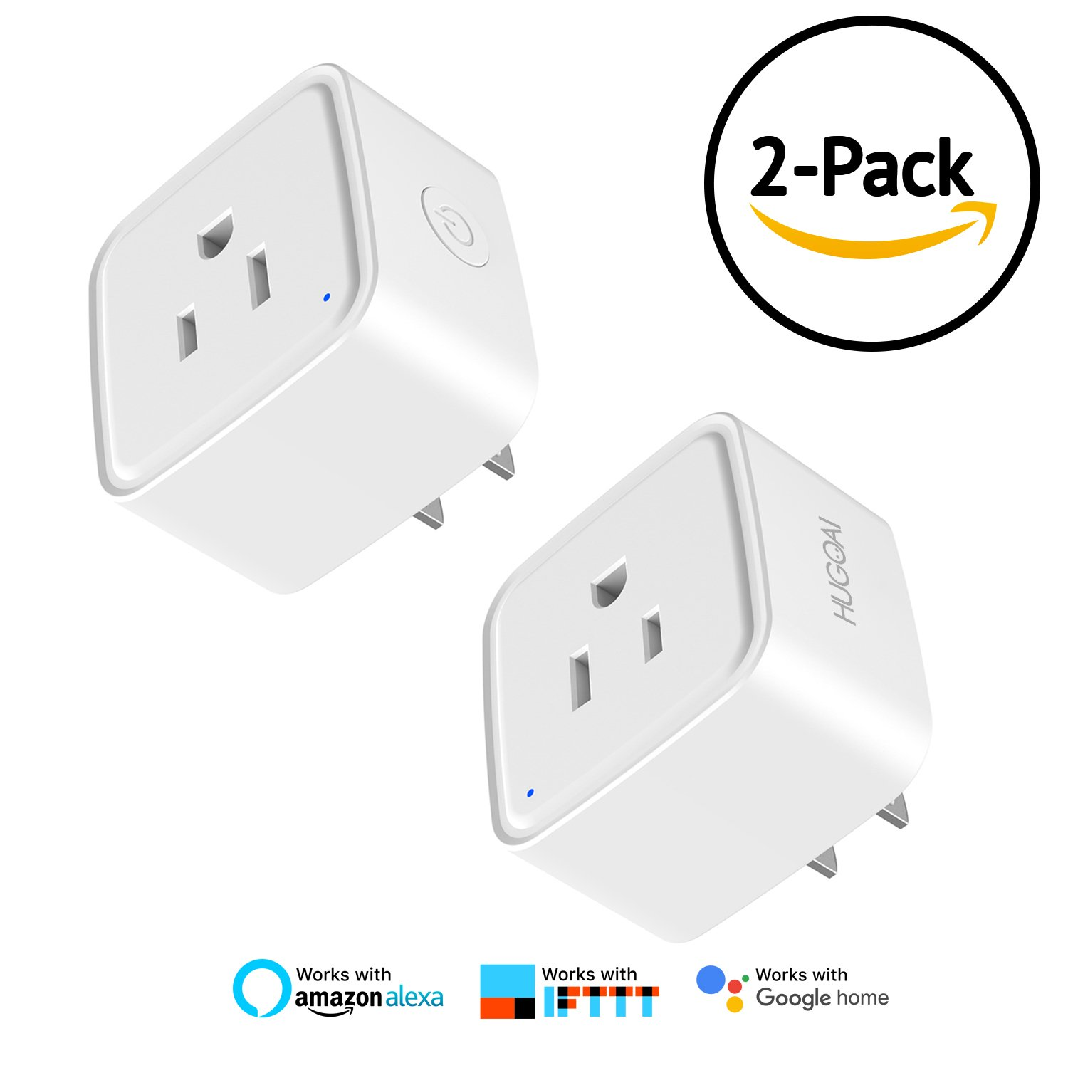 WiFi Smart Plug, HUGOAI Wifi Smart Outlet Wireless Socket 2 Packs, Compatible with Alexa &Google Home/IFTTT, Remote Control On/Off from Anywhere, No Hub Required