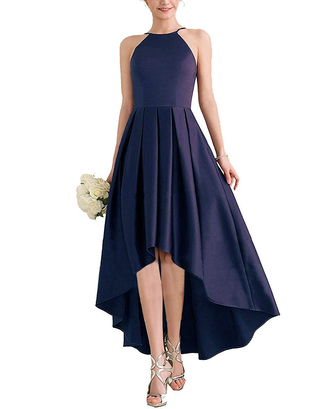 Navy bluee JINGDRESS Womens High Low Satin Bridesmaid Dress High Neck Sleeveless A Line Pleated Prom Gowns