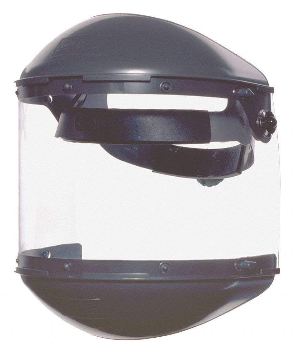 Fibre-Metal by Honeywell FM400DCCL Clear Visor Gray Noryl Chin Guard 4'' Crown Size Ratchet Dual Crown High Performance Face Shield System