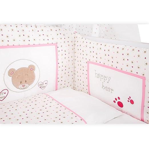 Babybettset Cute Bear in Rosa 5-tlg