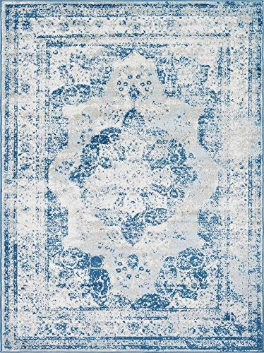(Unique Loom 3134077 Sofia Collection Traditional Vintage Beige Area Rug, 9' x 12' Rectangle, Blue)