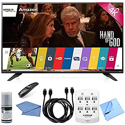 LG UF7700 240Hz 2160p 4K Smart LED UHD TV Plus Hook-Up Bundle with 3 Outlet Surge Protector with USB Ports, 2 x High-Speed HDMI Cable 6 ft., TV/LCD Screen Cleaning Kit, and More
