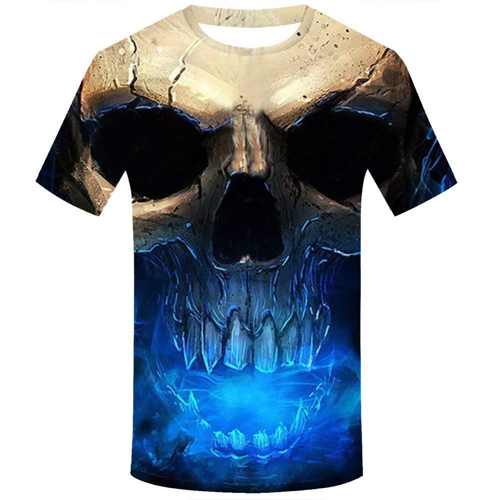 Allywit Skull T Shirt Skeleton T-Shirt Gun Tshirt Gothic Shirts Punk Tee 3D t-Shirt Anime Male Styles Blue