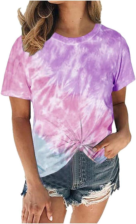 NACY Womens Summer Short Sleeve Tie Dye T Shirts Gradient Rainbow Twisted Knot Tee Tops