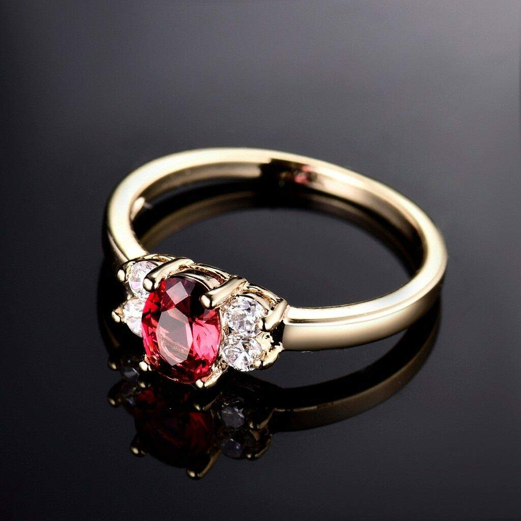 8 suchadaluckyshop Jan Birthstone 18k Yellow Gold Filled Vintage Lady Oval Red Garnet Ring 5-9 US