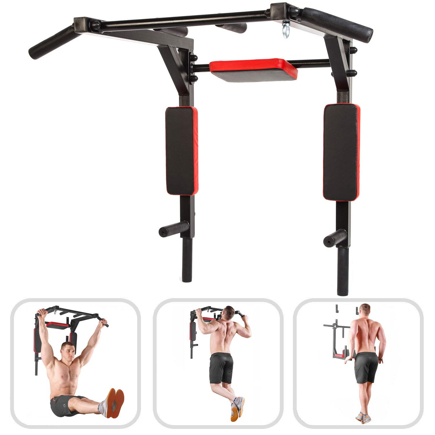 Wall Mounted Pull Up Bar - Pullup Bar Wall Mount - Chin Up Bar - Pull Up Bars and Dip Bar - Pullup and Dip Bar - Dip Station Pull Bar - Pullup Bars Outdoor and Home Room or Garage Gym Multi Grip - Pul