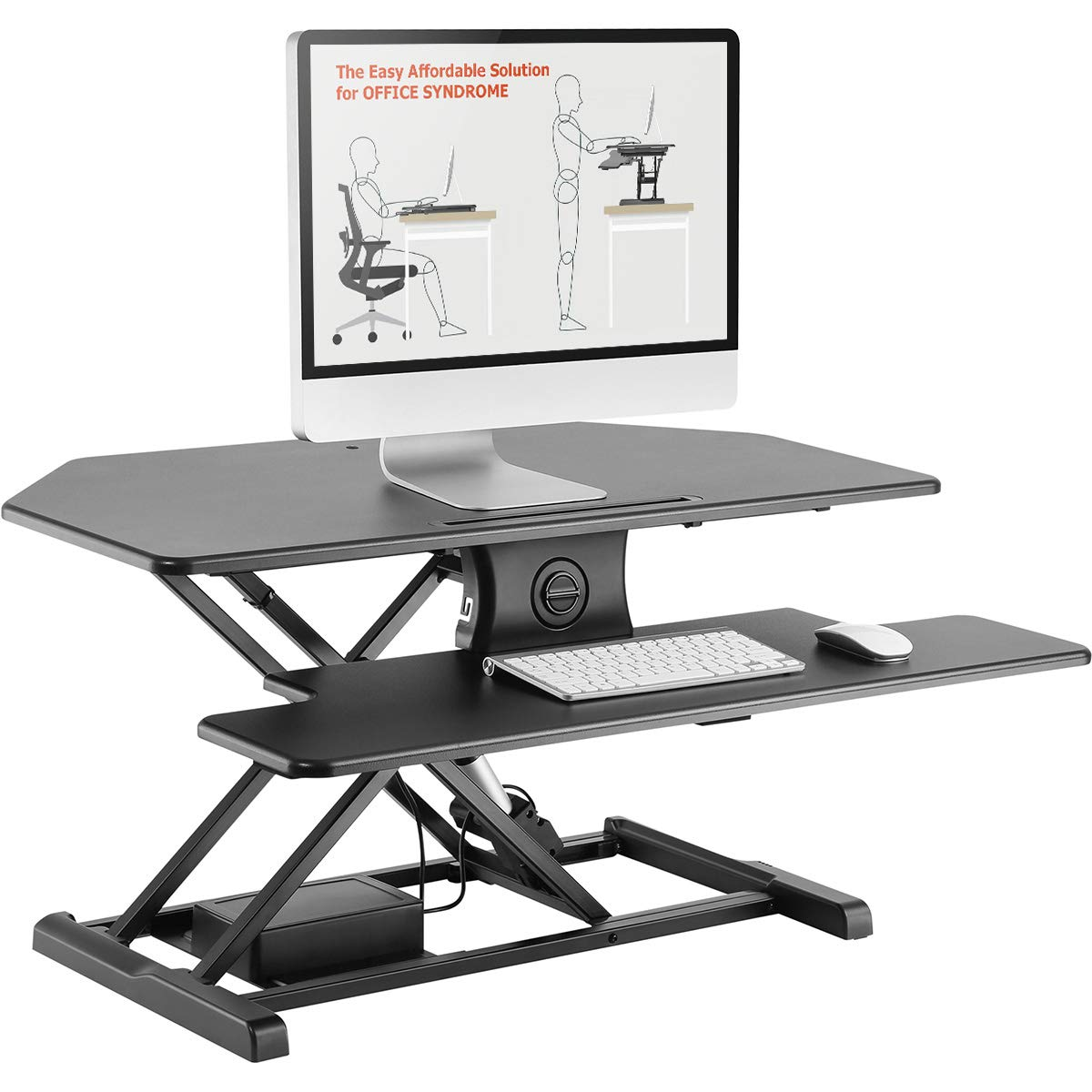 AdvanceUp 37.4'' 2-Tier Electric Ergonomic Corner Standing Desk Converter Riser, Motorized Height Adjustable Stand Up Workstation, 44lbs Capacity | Great for Offices & Cubicles with Dual Monitors