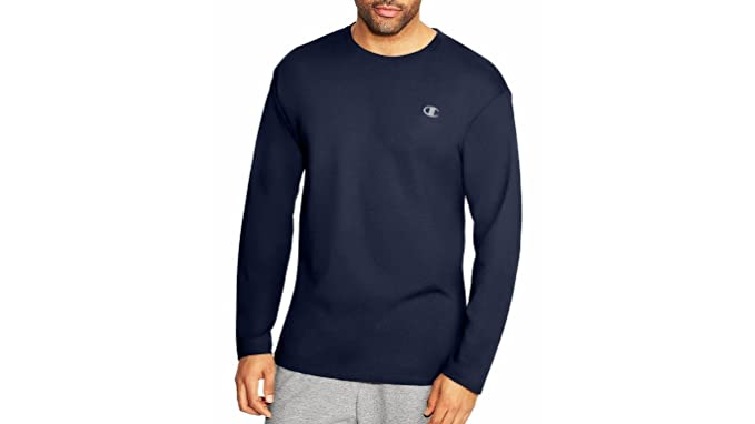 4383bd8c34c3 Champion Cotton Jersey Long-Sleeve Men's T Shirt - Blue -: Amazon.co ...