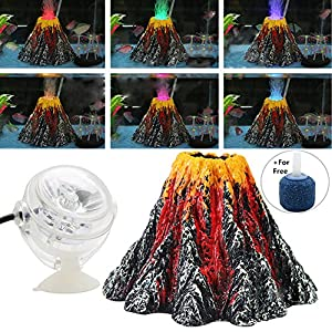 Normei Aquarium Volcano Ornament Kit Colorful LED Spotlight Air Bubbler Stone for Aquarium Fish Tank Decorations 18