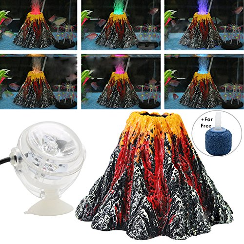 Normei Aquarium Volcano Ornament Kit Colorful LED Spotlight Air Bubbler Stone for Aquarium Fish Tank Decorations