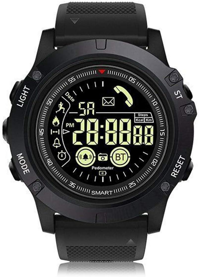 ROSEBEAR Reloj inteligente para deportes al aire libre, impermeable, Bluetooth 4.0, reloj inteligente táctico, militar, podómetro, color negro, negro