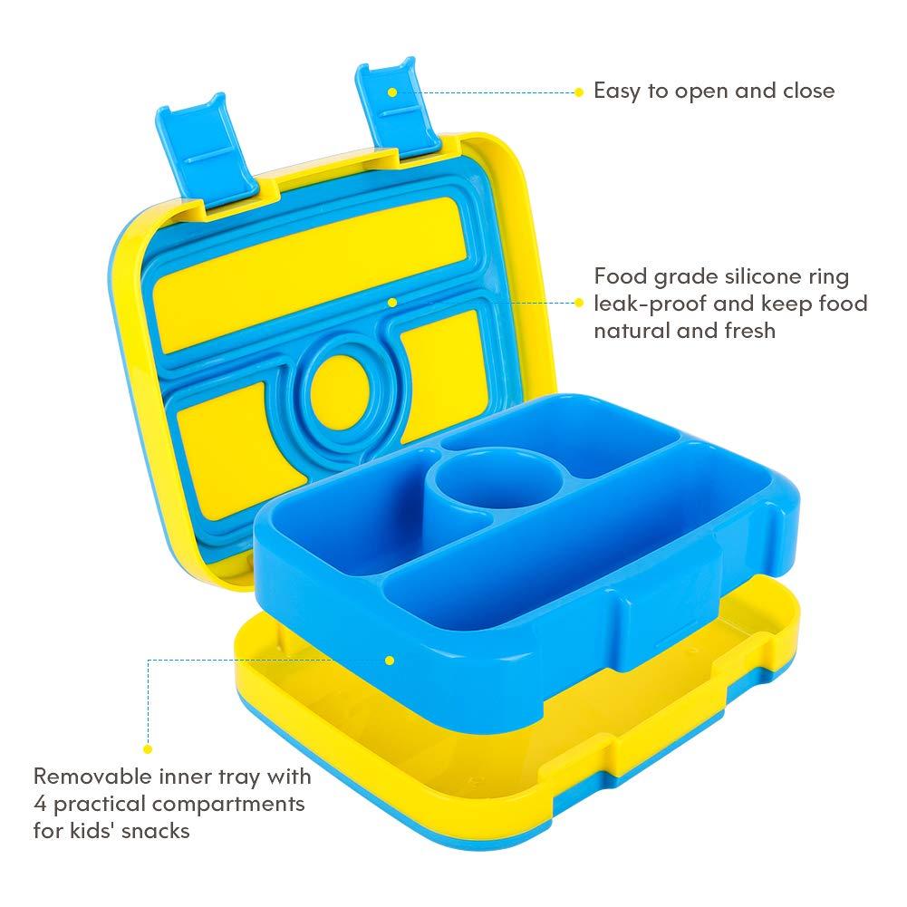 WayEee Lunchbox f/ür Kinder Bento-Box mit 4 F/ächern BPA-freier Essen Container mit L/öffel Ideal f/ür Schule Reisen Blau Gelb New Picknicks