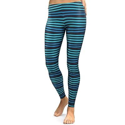 MKP Leggings Women Fashion (Pattern Two) Black and Blue Horizontal Striped Leggings