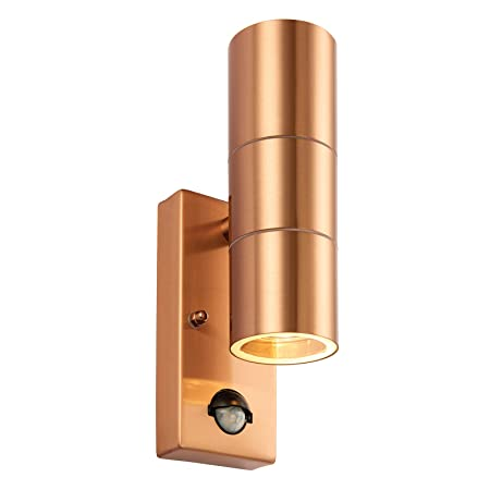 1f96178a6e43 Saxby Palin 35W Twin Copper Lacquer Stainless Steel PIR Outdoor Garden IP44 Motion  Sensor Up Down Wall Light: Amazon.co.uk: Kitchen & Home