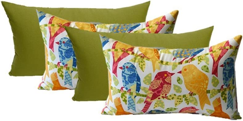 Set of 4 Indoor Outdoor Decorative Lumbar Rectangle Pillows – 2 Ash Hill Orange Blue Yellow Garden Birds 2 Solid Kiwi Green