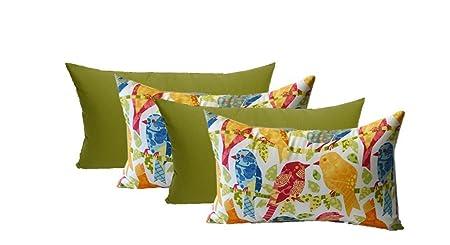 Set of 4 Indoor Outdoor Decorative Lumbar Rectangle Pillows – 2 Ash Hill Orange Blue Yellow Garden Birds 2 Solid Kiwi Green