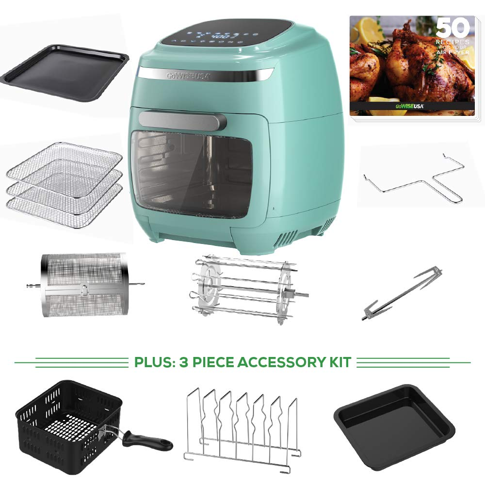 GoWISE USA 11.6-Quart Air Fryer Oven with Rotisserie and Dehydrator Functions 8 Piece Accessory Set 3 piece Accessory Kit 50 Recipes, Vibe Mint