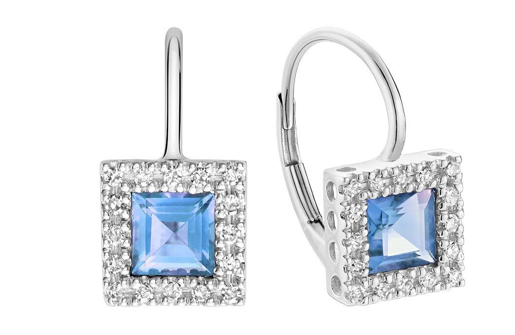 10K Gold Diamond and Princess cut Genuine Blue Topaz Earrings (0.08TDW H-I Color,I1 Clarity) (blue-topaz)