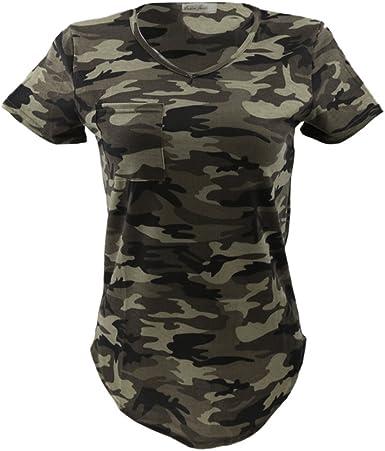 Camiseta casual con cuello en V y manga corta, para mujer, diseño de camuflaje militar: Amazon.es: Ropa y accesorios