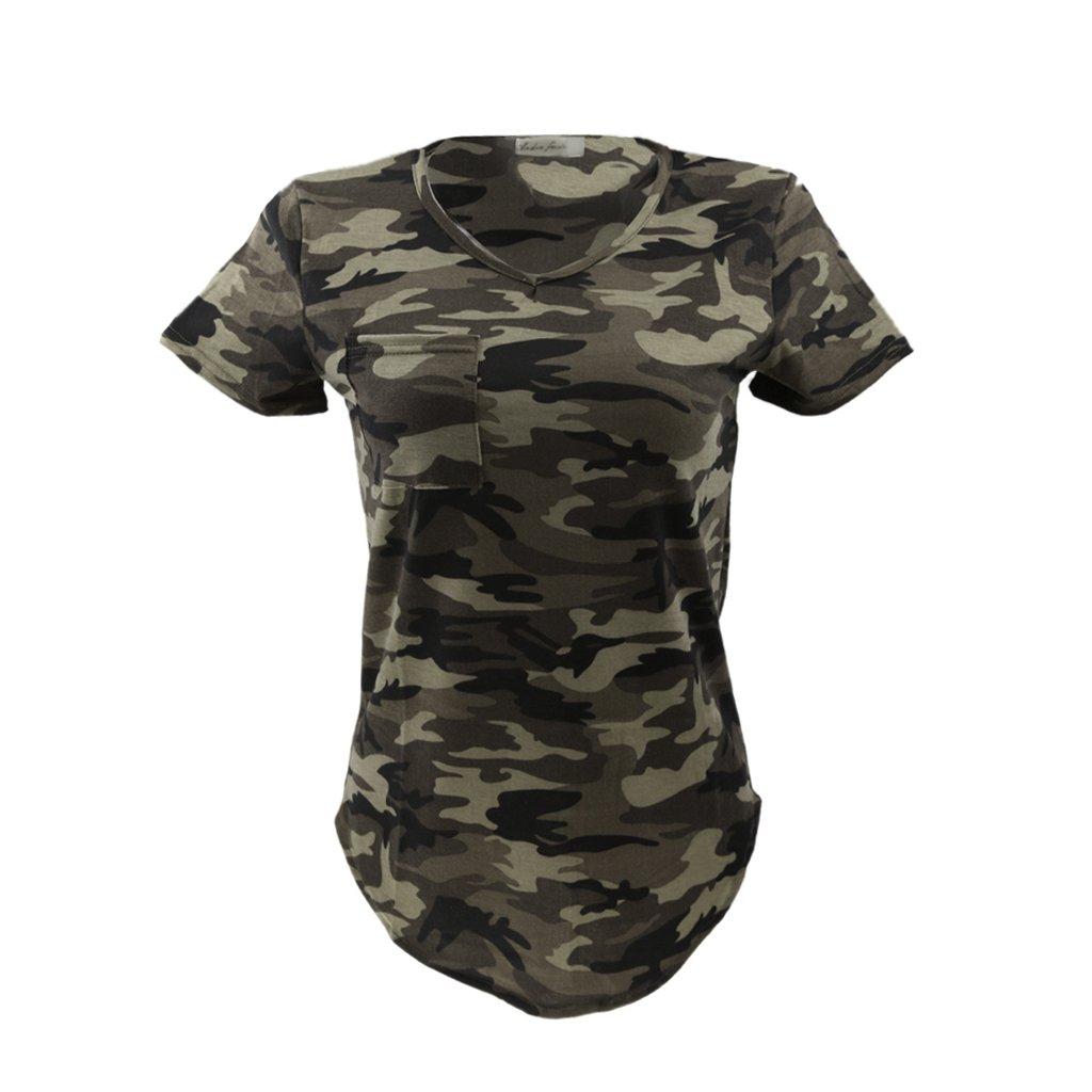 Femmes Blouse Casual Col-V Tops T-shirt à Manches Courtes Motif Camouflage Militaire - Vert Armée, XL Generic