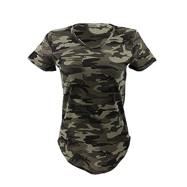 9dcad3c0c2cf4 Femmes Blouse Casual Col-V Tops T-shirt à Manches Courtes Motif Camouflage  Militaire