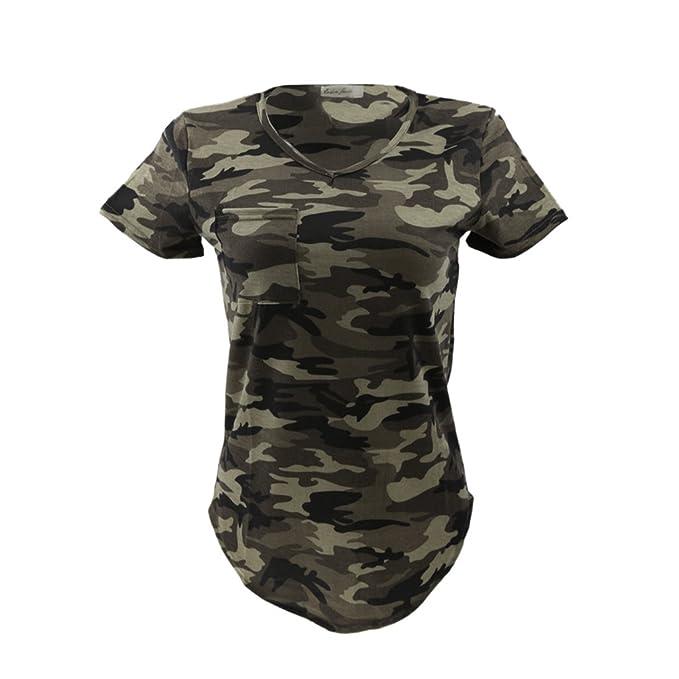 Motif À Manches Casual Col V Blouse Courtes T Shirt Tops Femmes 8ZnNOPX0wk