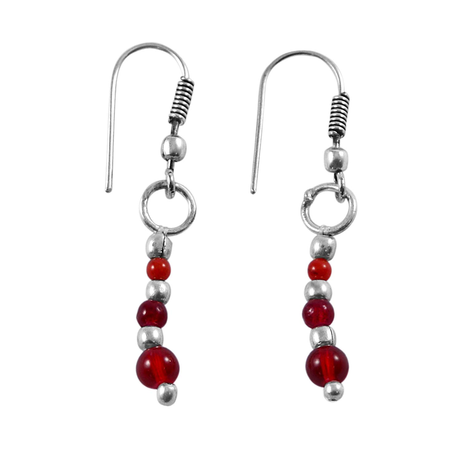 Saamarth Impex Red Quartz 925 Silver Plated Dangle Earring PG-130938