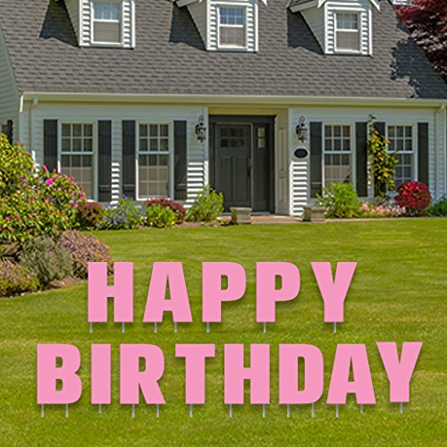 Happy Birthday Letters Yard Card in Pink Or Blue