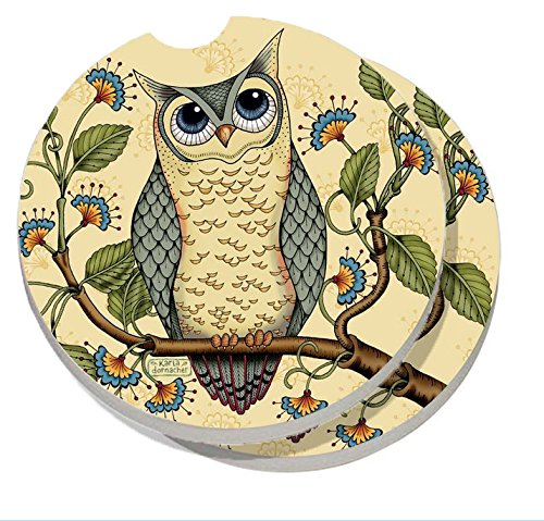 CounterArt Absorbent Stoneware Car Coaster, Wise Owl, Set of 2 Car Coaster Set