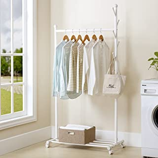 Simple Hanging Clothes Racks Floor Bedroom Home Economy Clothing Racks Clothing Racks Floor Simple Modern (Color : White) nuoxuan