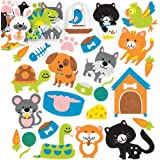 Baker Ross Pets Foam Stickers (Pack of 120) for Kids to Decorate, Arts, Crafts, Cards & Scrapbooking