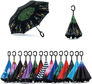 Jooayou Paraguas Invertido de Doble Capa,Paraguas Plegable de ...