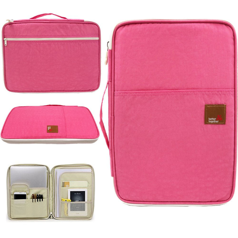 Amazing Tour A4 Documents Case Files Tickets Organizer Zipped Storage Messenger Portable IPad Bag Handbag Day Pack Multi-Function for Travel and Office Pink Bag