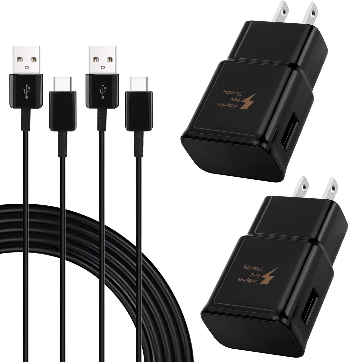 Adaptive Fast Charger Compatible Samsung Galaxy S10 S10e S9 S9 Plus S8 S8+ Note 8 Note 9,Fast Charging Wall Charger Adapter with 6.6ft Type C Charging Cable