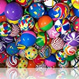 Custom & Unique {45mm} 400 Bulk Pack, Mid-Size Super High Bouncy Balls, Made of Grade A+ Rebound Rubber w/ Abstract Colorful Swirled Checkered Two Tone Stripes & Platters Pattern Style (Multicolor)