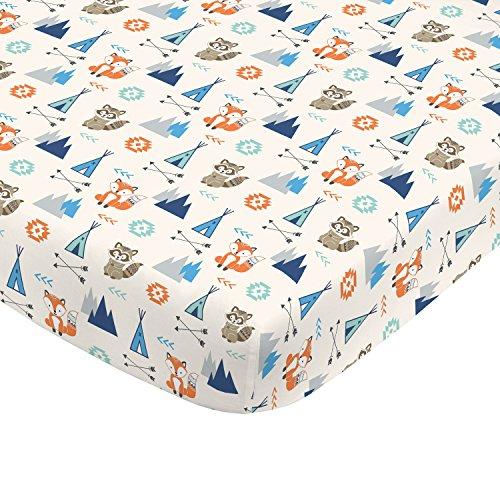- NoJo Aztec Mix & Match 100% Cotton Grey/Fox Fitted Crib Sheet, Navy, Orange, Aqua, Ivory