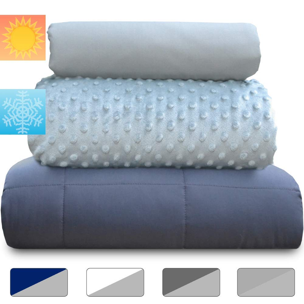 Rocklin Industry Chilla 15 lbs Weighted Blanket Set | 3 Piece Set | Summer + Winter Duvet Covers | 60in x 80in | Therapeutic for Anxiety, Stress, ADHD, Insomnia | Gray + Gray