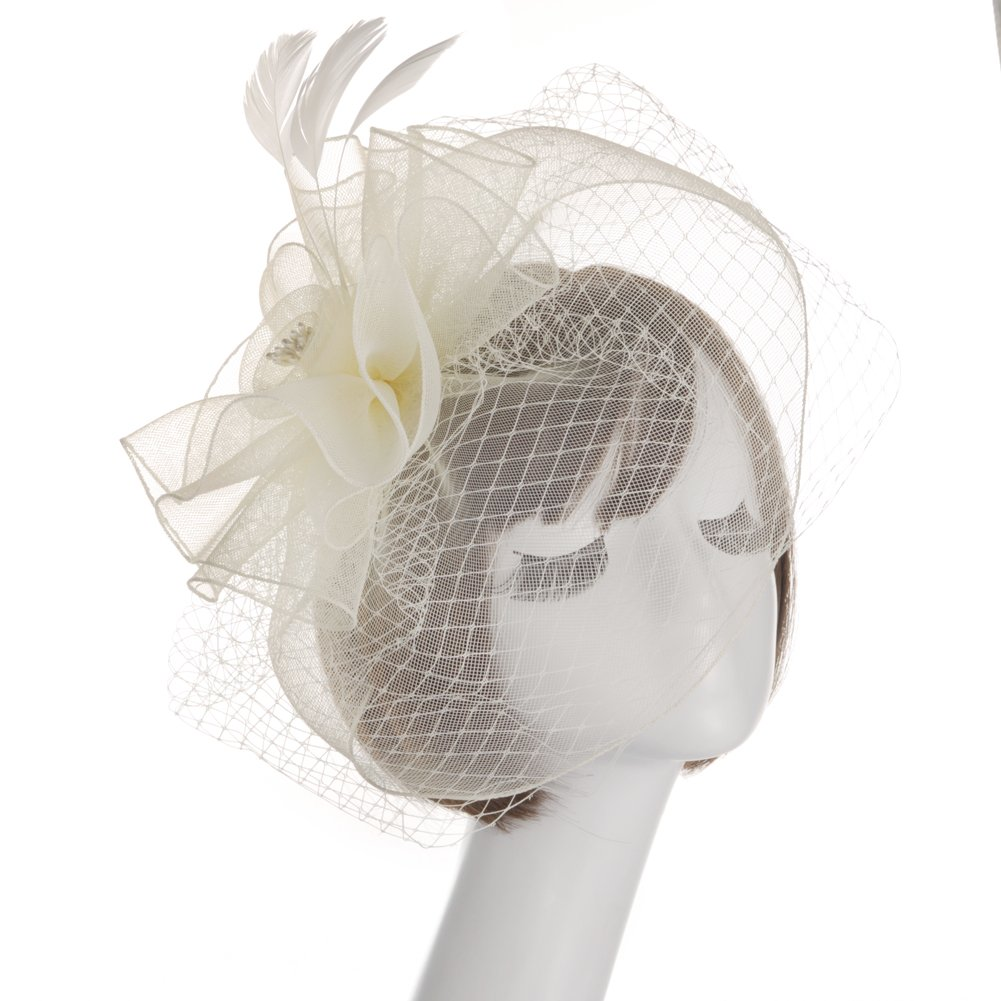 Fankeshi Women's Cocktail Sinamay Fascinator Hat Flower and Veil Hair Clip Hat Cream