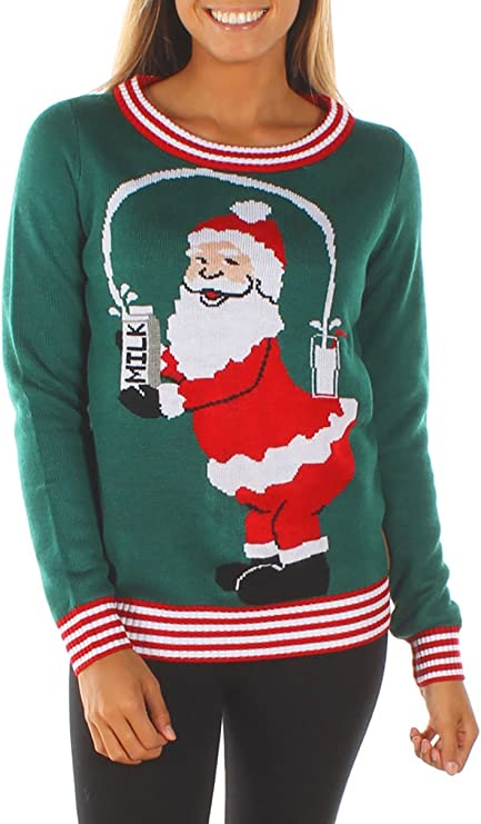 Women's Ugly Christmas Sweater - Funny Santa Sweater funny ugly Christmas sweater for women